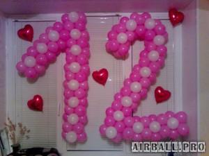Цифры из воздушных шаров - на каркасе